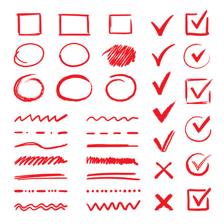 Doodle check marks and underlines. Hand drawn red strokes and pen markings V marks for list items. Vector marker check handwritten signs and checkbox