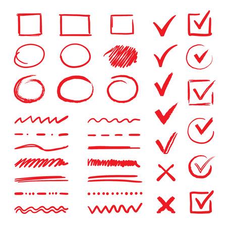 Segni di spunta e sottolineature di Doodle. Tratti rossi disegnati a mano e segni di penna V segni per gli elementi dell'elenco. Marcatore vettoriale controlla segni scritti a mano e casella di controllo