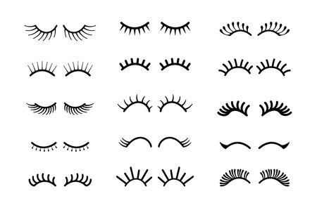 Cartoon eyelashes. Unicorn closed eyes, cute animal sleeping face, pretty closed beauty eyelashes makeup set. Vector pretty face elements