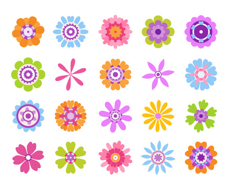 Cartoon flower icons. Summer cute girly stickers, modern flowers clip art icon set. Vector retro pretty nature graphic template Illustration