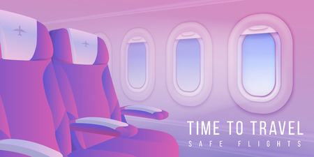 Airplane windows banner. Aircraft interior travel poster, summertime sky in plane porthole, passenger transport. Vector travelling illustration background about business class