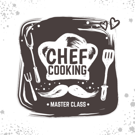 Cook doodle logo. Restaurant sketch poster, food black badge with kitchen tools and elements. Vector sketch typography hand drawn logo cooking home meal
