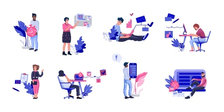 People successfully organizing work. Collection of happy efficient office workers planning appointments illustrations. Vector cartoon happy workflow managements set