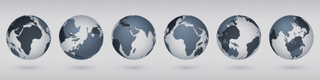 Transparent Earth globe. Realistic circle world map with USA Europa Asia, simple abstract 3D globe model. Vector flat isolated image set