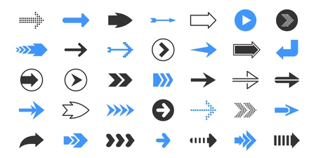 Black arrows. Flat pointer symbols, up and down left right direction symbols, blue and red cursor. Vector navigation arrow signs icon set Ilustrace