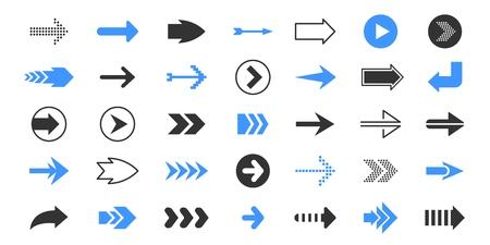 Flèches noires. Symboles de pointeur plat, symboles de direction haut et bas gauche droite, curseur bleu et rouge. Jeu d'icônes de signes de flèche de navigation vectorielle