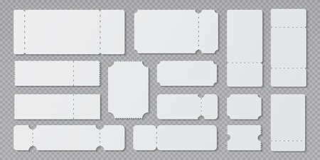 Empty ticket templates. Lottery coupon mockup, blank concert and movie ticket layouts. Vector ruffle edge different theater white tickets closeups