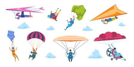 Parachutistes de dessin animé. Parapentes parachutistes, personnages tombant à plat avec parachutes, sport extrême d'adrénaline. Ensemble de saut de ciel professionnel et passe-temps isolé de vecteur Vecteurs