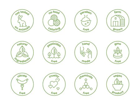 Eco line badge. Natural organic logos, paraben free not tested on animals, cruelty free labels, face skincare. Vector design bages illustration set
