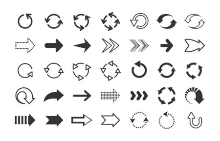Black arrows. Circle and line direction symbols, flat pointers cursors and next page signs. Vector up down left right refresh motion arrow set Ilustrace