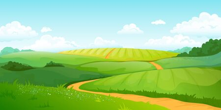 Summer fields landscape. Cartoon countryside valley with green hills blue sky and curly clouds. Vector rural nature horizon pasture view