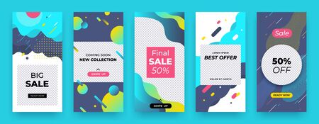Social media banner. Story sale coupon layout, abstract promo swipe up template, discount mobile kit. Vector landing trend abstract background Фото со стока - 127397238