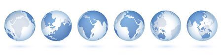 Transparent world globe. 3D realistic sphere with USA Asia Europe, circle glass planet and world map. Vector blue earth isolated set, view from space Ilustração