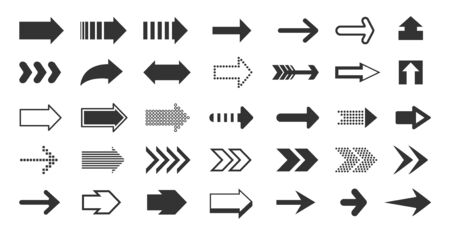 Black arrows. Direction pointers, up down left right signs of dots shapes and strokes, flat cursor pixel next sign. Vector arrow signage set Stock Illustratie