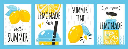 Hand drawn lemon posters. Quote typography and summer lemonade drink vintage cards, Vector fresh lemons doodle background for label motivational concepts healthy food Фото со стока - 127397263