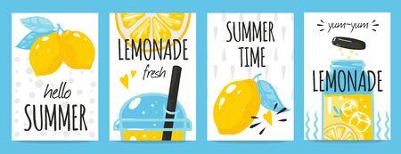 Hand drawn lemon posters. Quote typography and summer lemonade drink vintage cards, Vector fresh lemons doodle background for label motivational concepts healthy food Stock Illustratie