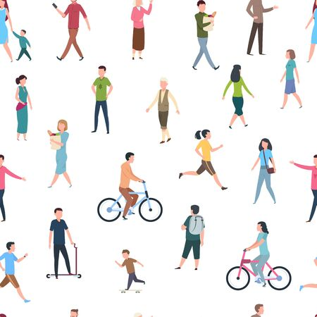 Seamless pattern with walking people. Persons in casual clothes, crowd walks in city. Vector flat illustration sketch cartoon fitness active human on white background