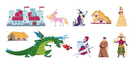Fairy tale characters. Medieval cartoon castles and persons, kings wizards dragon and knight. Vector character flat prince and princess magic set Ilustrace