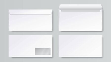 Realistic envelope. DL blank stationery mockup, open closed front and back letter view, corporate business template. Vector 3d business mail set Stock Illustratie