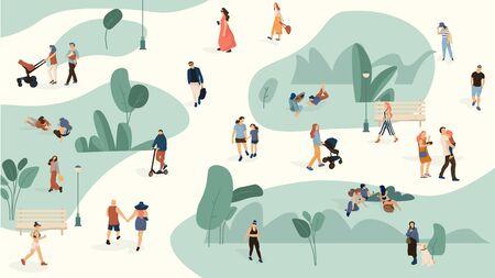 Les gens dans le parc. Des hommes et des femmes à la mode se promènent dans un parc d'été, dessinent un grand groupe de personnes. Vecteur défini personnes vélo de loisirs avec des chiens