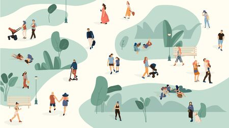People in park. Trendy men and women crowd walking in summer park, cartoon large people group. Vector set persons leisure biking with dogs