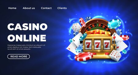 Casino 777 slot machine landing page template. Gambling Casino landing page. Gambling roulette website big lucky prize, realistic 3D vector illustration 777 slot machine template. Happy gambler play poker Illusztráció