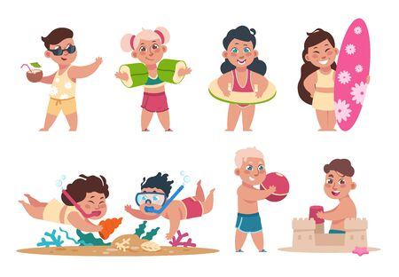Kids at beach. Cartoon happy children swimming playing ball and doing summer activities on holidays. Vector flat child fun holiday party set Фото со стока - 127397307