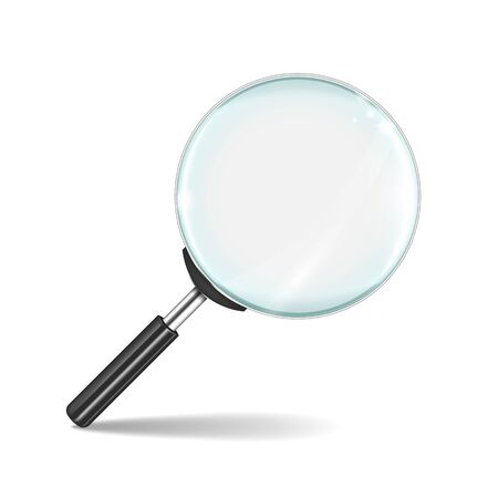 Magnifying glass. Transparent realistic zoom lens isolated on white background. Vector 3D loupe tool, research detective concept magnify business Stock Illustratie