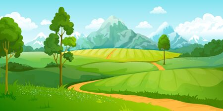 Summer mountains landscape. Cartoon nature green hills scene with blue sky trees and clouds. Vector illustration rural countryside eco perspective background with road