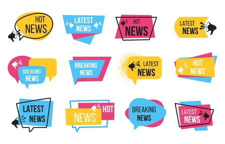 News badge. Promotion stickers with megaphone and text bulb, breaking news announcement. Vector newspaper cartoon tags for daily headline hot information