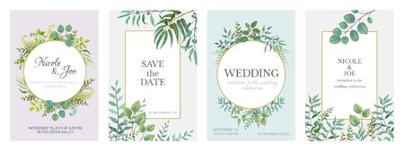 Wedding greenery posters. Floral green invitation cards with rustic garden branches and leaves. Vector trendy eucalyptus borders in golden frame on white background Фото со стока - 127398349