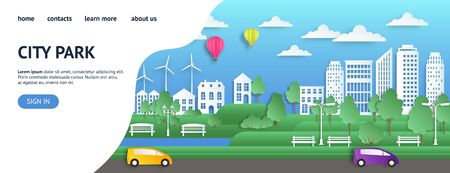 City landing page. Paper UI modern summer town in origami style web page, green nature environment website. Vector template flat clean ecology city landing