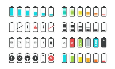 Battery icons. Phone charge level, UI design elements of battery percentage, full low and empty battery status. Vector isolated set phone power from low to full charging Фото со стока - 127398378