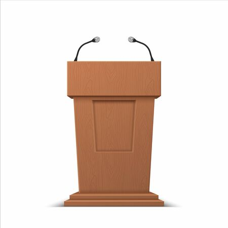 Realistic debate stage. 3D conference speech tribune, business presentation stage stand with microphones. Vector isolated illustration podium for public presenting on white backgrounds Stock Illustratie