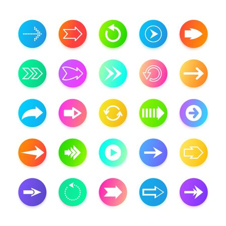 Color arrow web button icons. Back, out, from, to, and next navigation sign. Cursor arrows set, vector design illustration icons Stock Illustratie