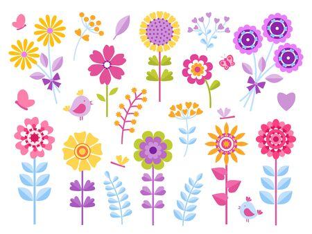 Cartoon flower stickers. Cute butterflies bugs and birds kid clip art, summer garden pretty retro set. Vector beautiful floral child scrapbook or print icons
