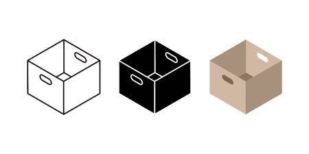Carton box icons. Flat black and linear cardboard box and delivery service symbols, post parcels and shipping package. Vector illustration empty real pack set