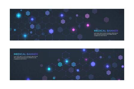 Concepto de banner médico. Servicio de medicina y banners abstractos de emergencia de ambulancia. Vector web patrones tecnologías innovación estructura de la molécula de estilo mosaico abstracto