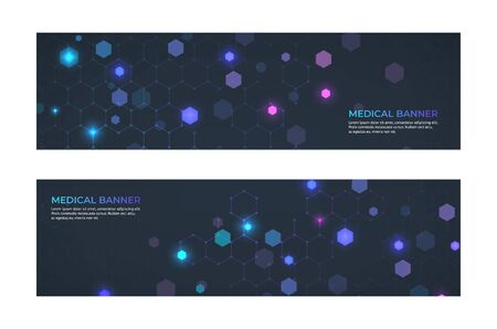 Medical banner concept. Medicine service and ambulance emergency abstract banners. Vector web patterns technologies innovation abstract mosaic style molecule structure Illustration