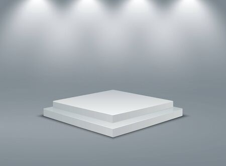 Square illuminated podium. Stage pedestals winner scene. Vector 3D two-stage platform with lighting on gray background