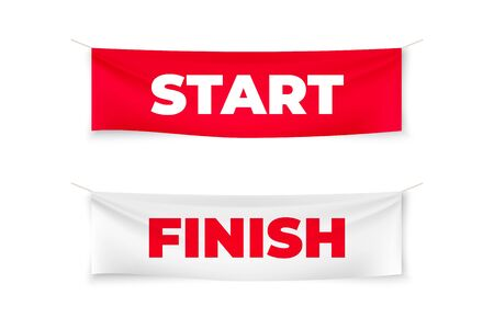 Start and finish realistic banners. Flags for outdoor sport event. Textile vector streamers for competition race, run marathon Stock Illustratie