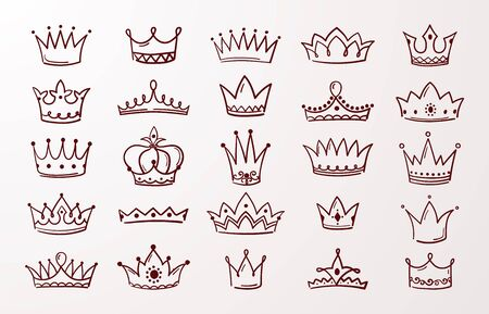 Hand drawn crown set. Sketch queen or king beauty doodle crowns. Vector image vintage ink Jewel tiara isolated icons