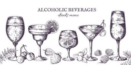 Hand drawn cocktails. Vintage alcoholic menu sketch, liquor beverages and lemonades. Vector illustrations isolated tropical bar drinks in doodle line Ilustração