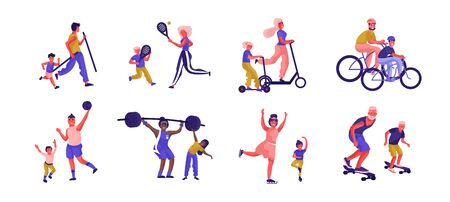 Parents and children sport activities. Cartoon active family characters playing games and spending time together. Vector illustration father, mother and kids sporting activities flat scenes Фото со стока - 127398451