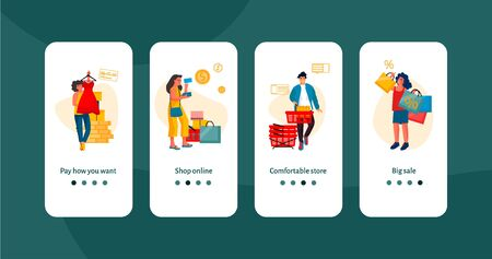 Shopping people onboard screen. Trendy scenes with shopping happy people, e-commerce mobile app banners. Vector cartoon illustrations web interfaces discount app mockup Фото со стока - 127398456