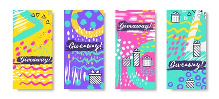 Social media banners. Giveaway fashion story frames, trendy sale post. Vector illustration trendy gift boxes and winning prizes design concept Фото со стока - 127398462