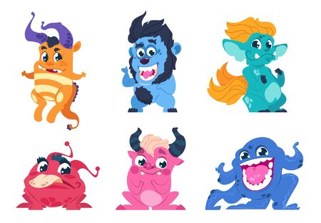 Cartoon monsters. Cute little angry animals, mascot characters with smiles and troll faces for stickers and emblems. Vector goblin set party on birthday for kids Фото со стока - 127398463