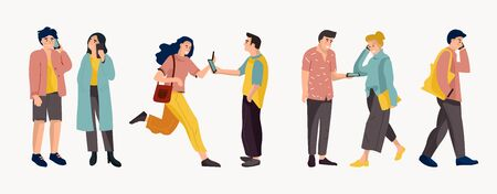 People talking on phone. Trendy cartoon office workers and diverse people talking on telephone. Vector conversation and dialogue office worker or businessman Ilustração