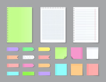 Sticky notebook paper. Adhesive stickers and blank colored sheets with grid squares and lines. Vector empty ripped pages for write message and notes Ilustração