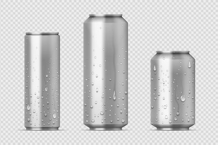 Realistic metal cans. Aluminum bear soda and lemonade cans with water drops, energy drink blank mockup. Vector isolated set canned beverages with water condensation on transparent background Illustration